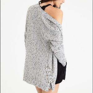 AEO marled cotton blend side lace cardigan size M